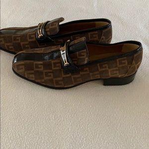 Gucci SS Monogram Plain Toe Loafers Suede men shoe